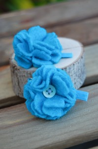Teal Mini Flower Hair Clips