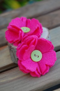 Pink Large Flower Hair Clips