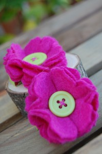 Magenta Large Flower Hair Clips