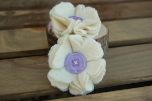 Ivory Large Flower Hair Clips