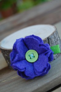 Purple Flower Mini Hair Clips
